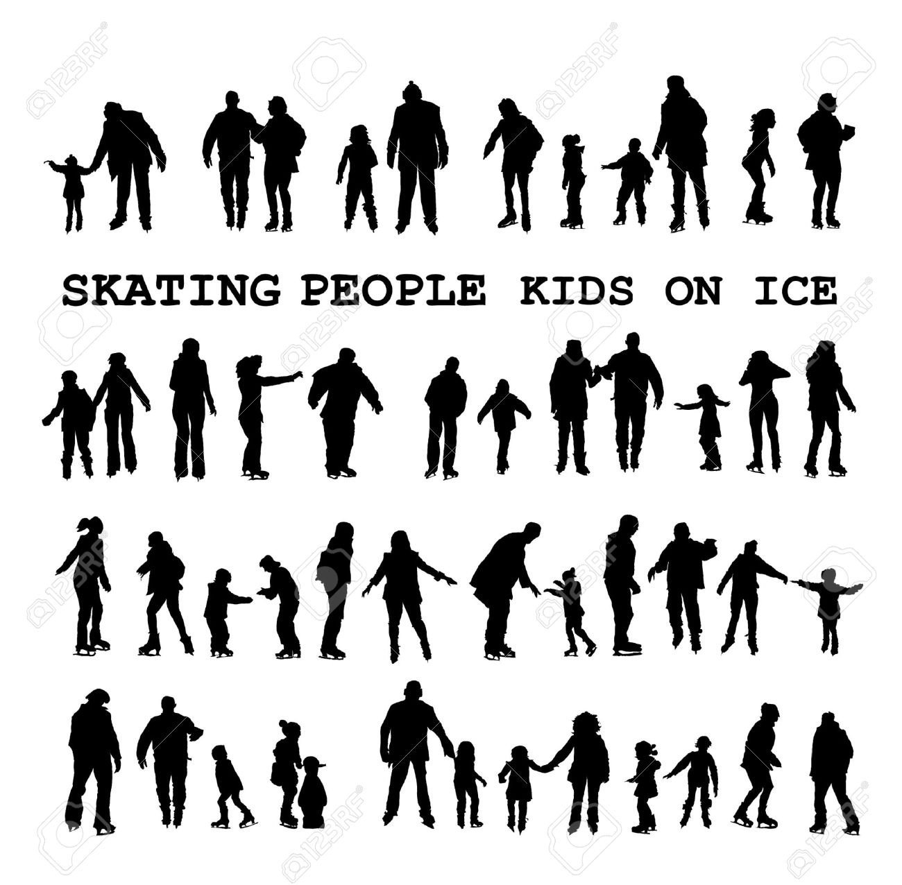 Skating people silhouettes on the ice rink Stock Vector - 11478725