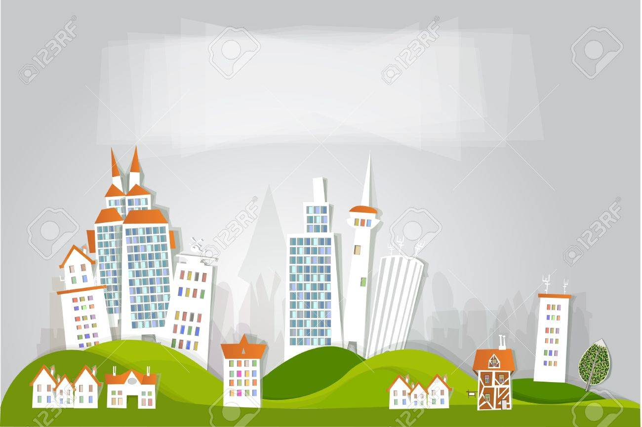 White city on the hills Stock Vector - 12480856