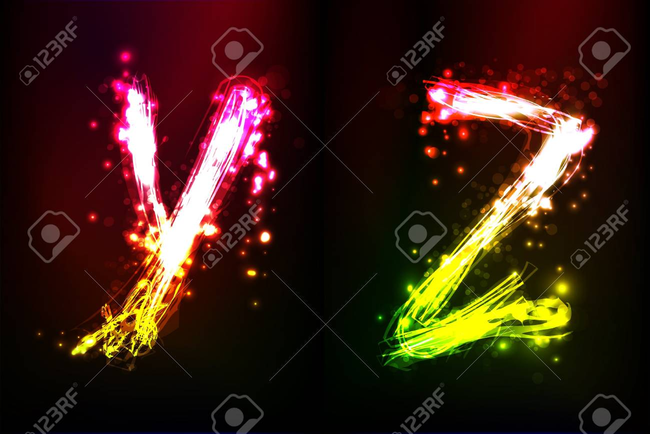 neon alphabet Stock Vector - 12487602