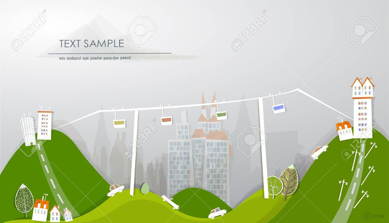 cable car running over the city Stock Vector - 12485902