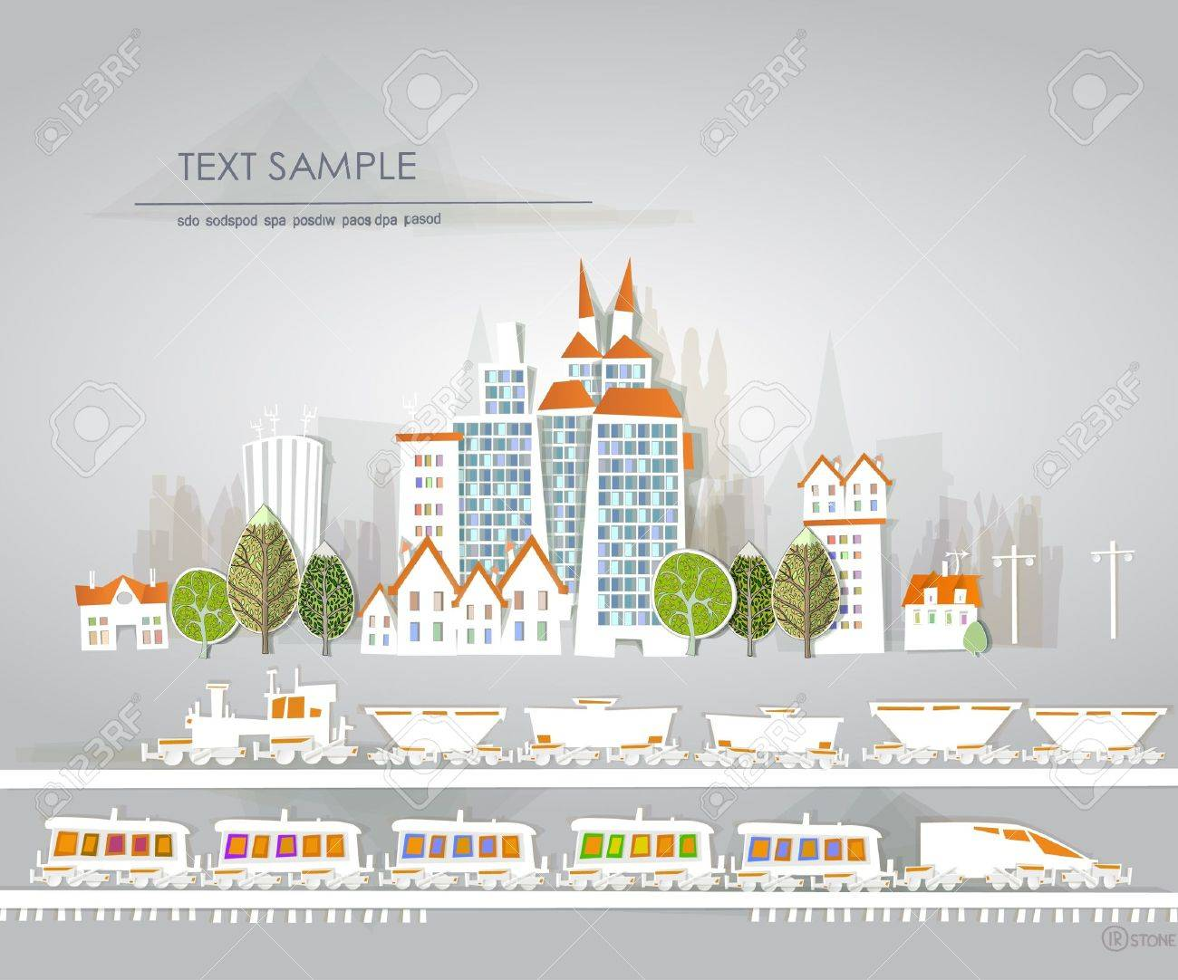 city and railway White city collection Stock Vector - 12531014