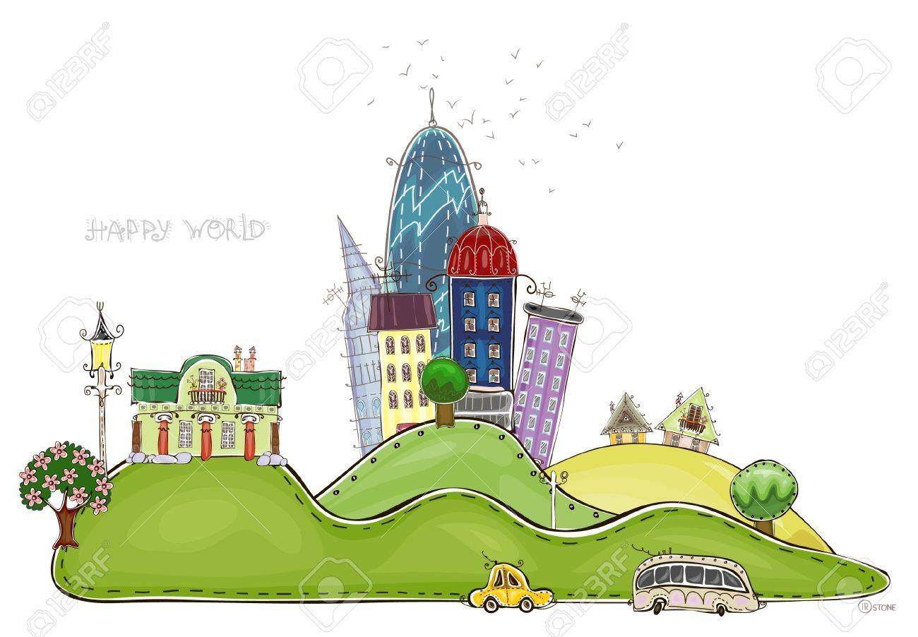 city on the hills   Happy world  collection Stock Vector - 12883586