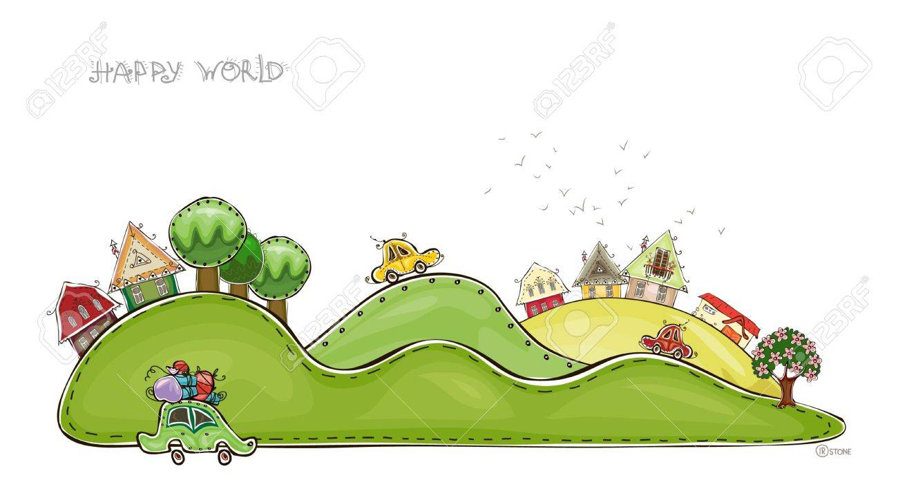 villages on the hills Happy world collection Stock Vector - 13175883