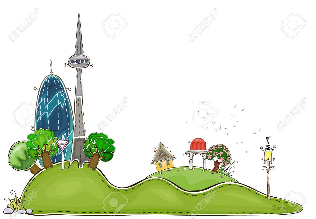 city on the hills Stock Vector - 13572685