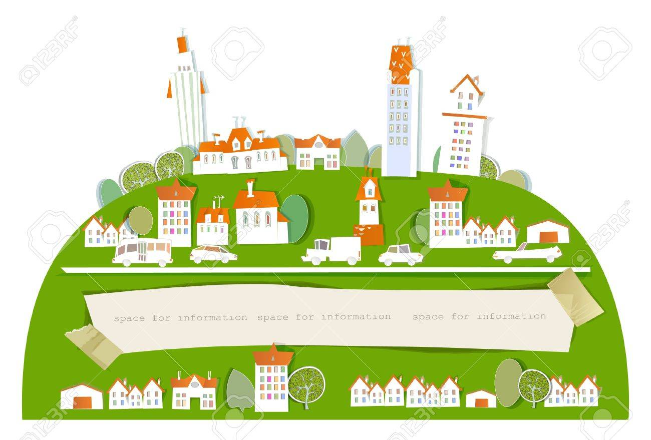 city on the big green hill and paper background Stock Vector - 13860252