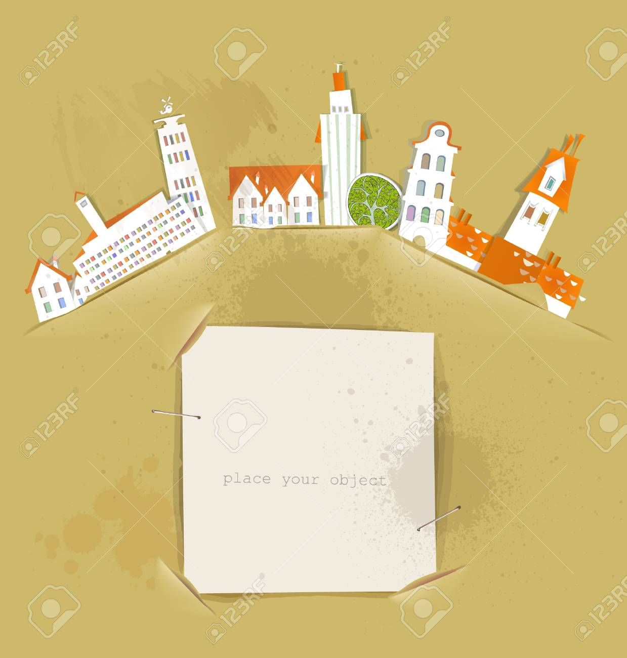 city and paper background Stock Vector - 14070375