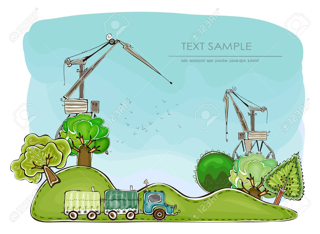 cranes and landscape Stock Vector - 14781876