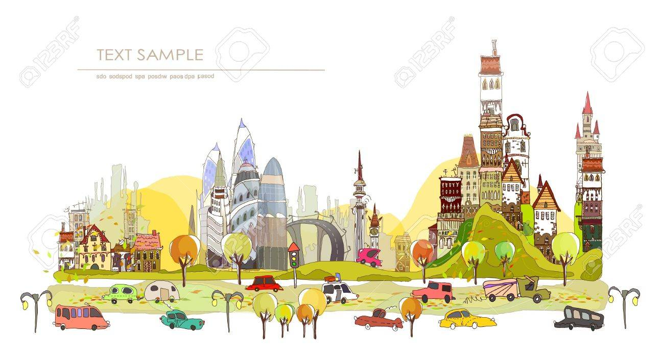 autumn in the city Stock Vector - 15340161