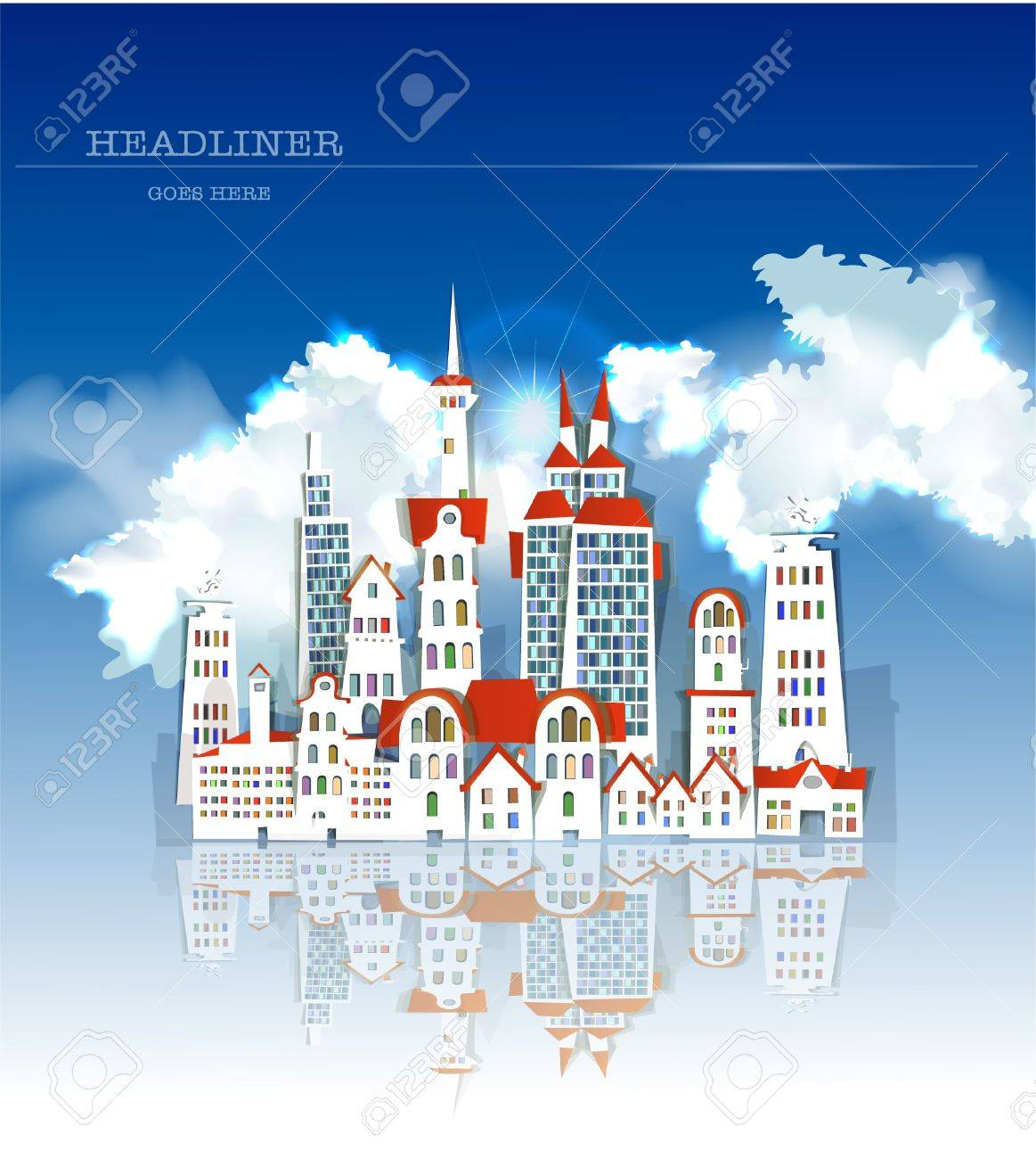 city made of stickers  White city collection Stock Vector - 15788332