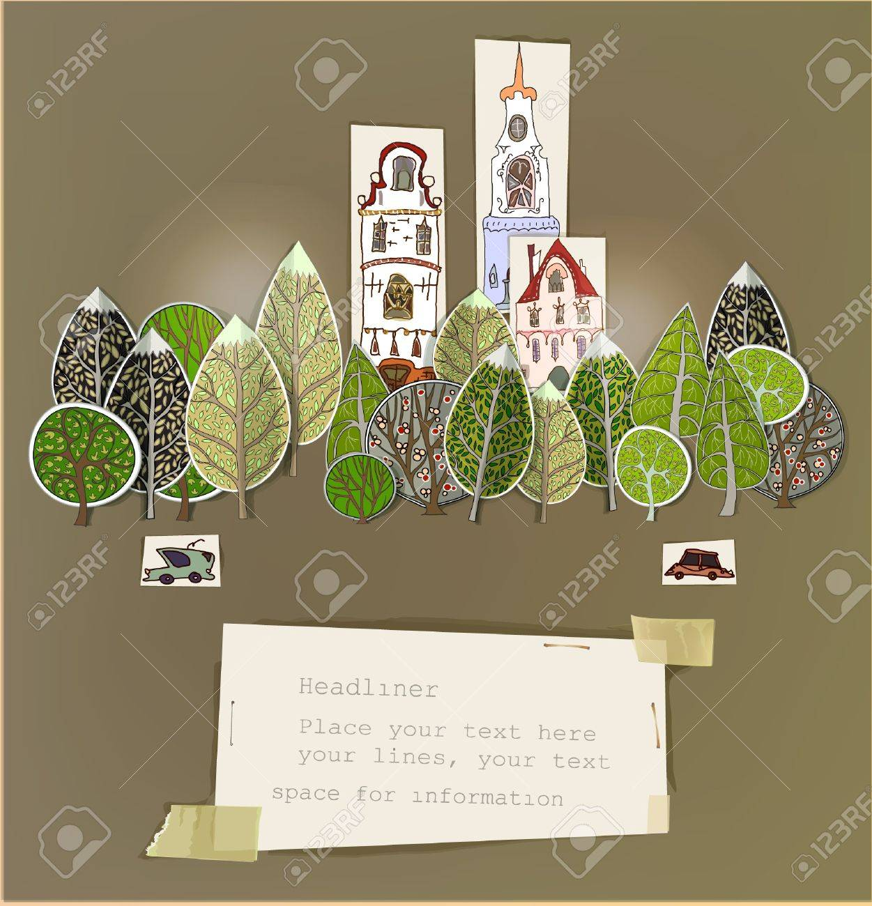 Paper stickers  City background Stock Vector - 18734713