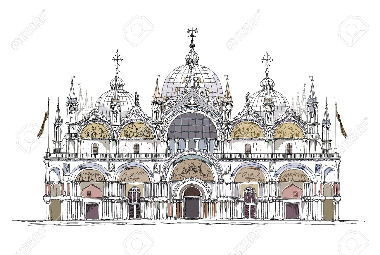 http://previews.123rf.com/images/irstone/irstone1402/irstone140200159/26530526-basilica-San-Marco-Venice-sketch-collection-Stock-Vector.jpg