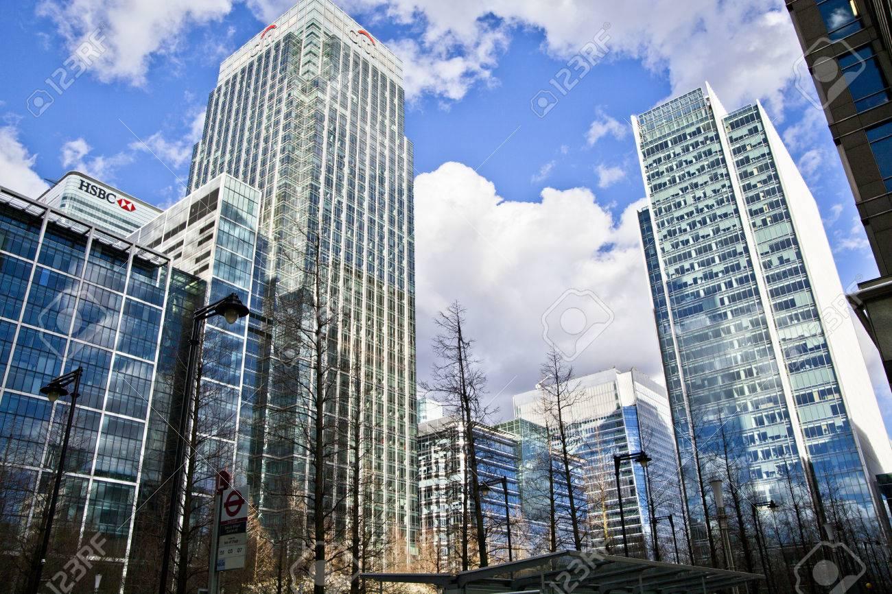 LONDON, UK - CANARY WHARF, MARCH 22, 2014 Modern glass buildings