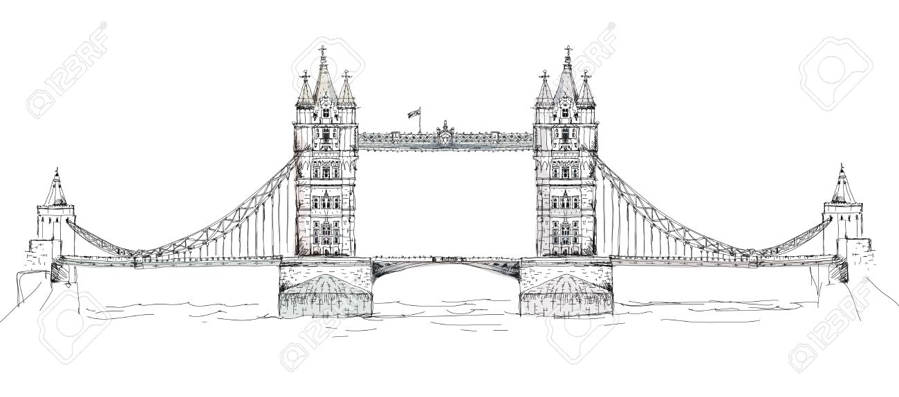 Sketch Collection Of Famous Buildings London Tower Bridge Stock Photo