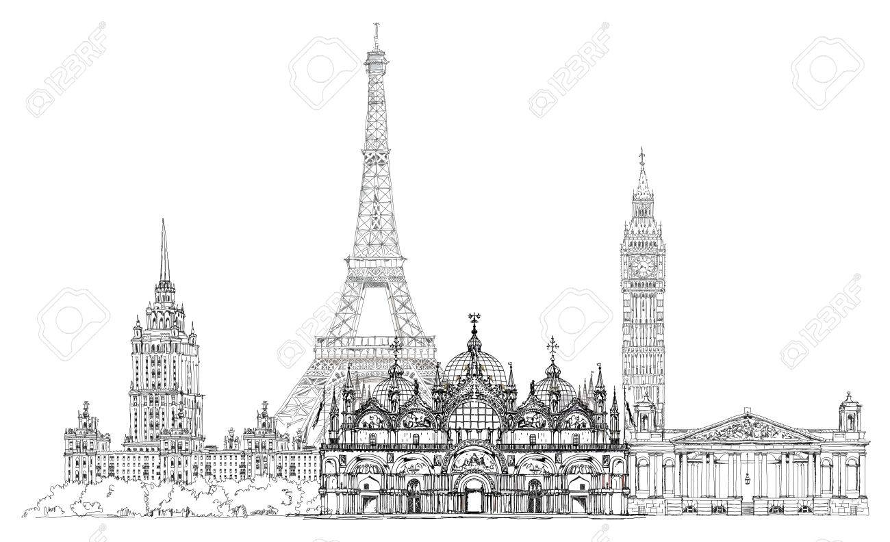 Sketch Collection Of Famous Buildings: Eiffel Tower, St. Marco ...
