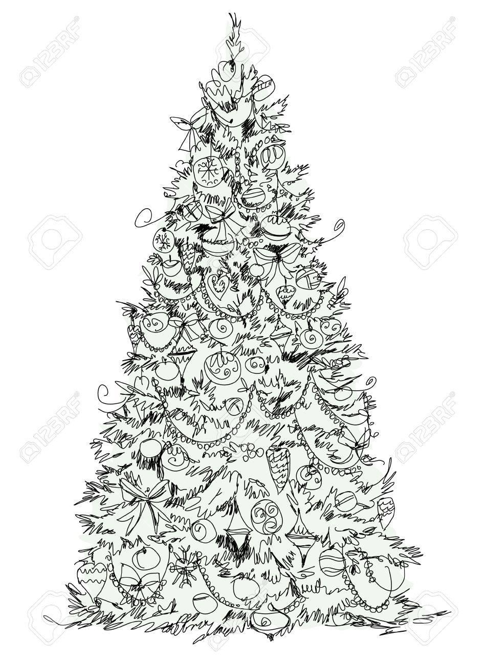 Christmas tree sketch stock photo 33863445
