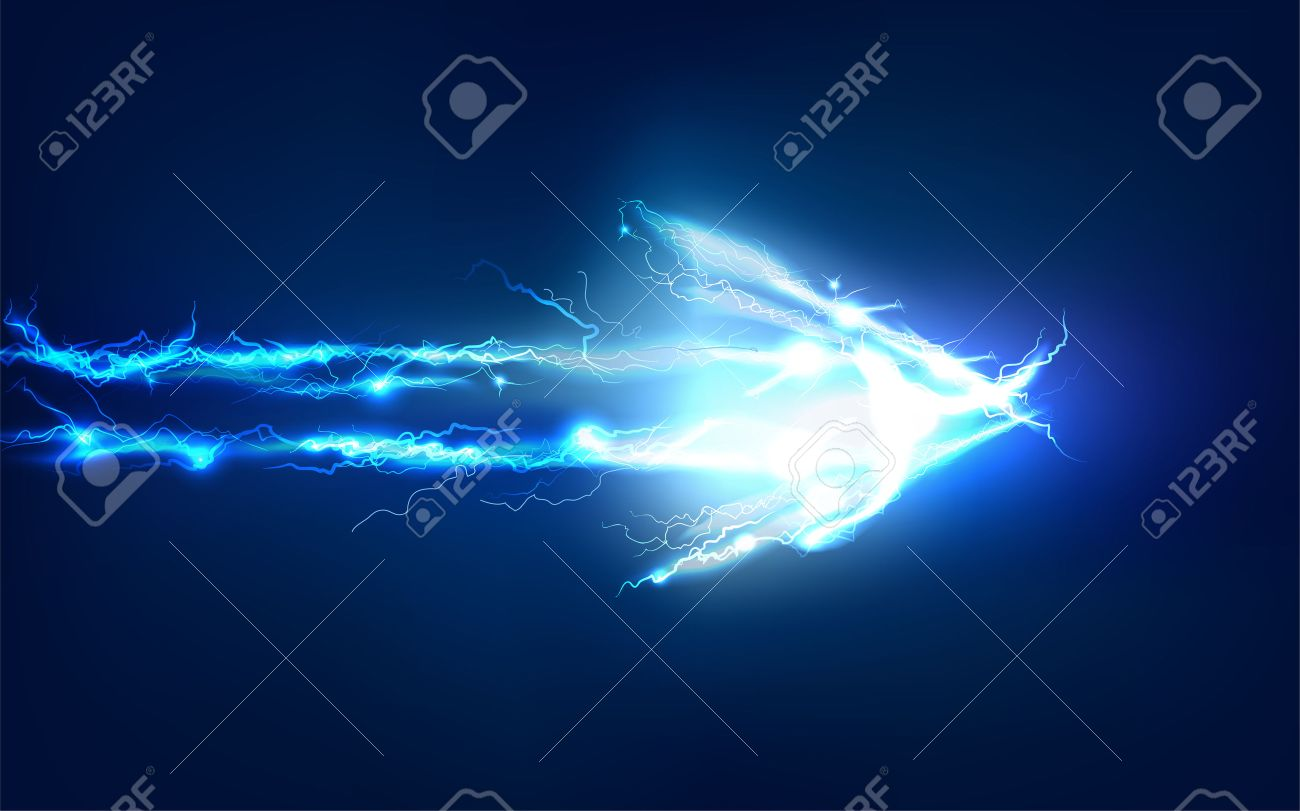 arrow abstract made of electric lighting effect stock photo