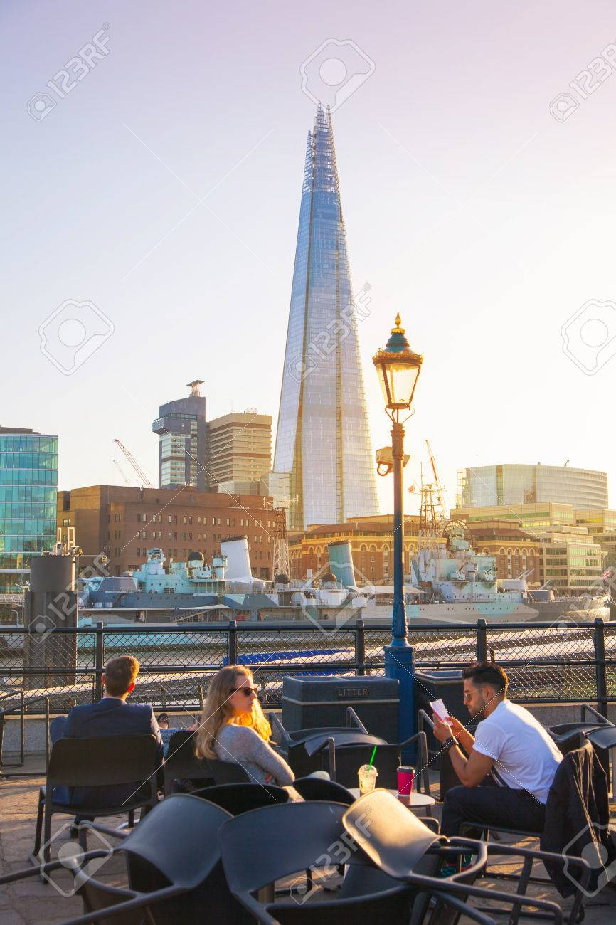 london, uk - april15, 2015: little cafe and tourists in front