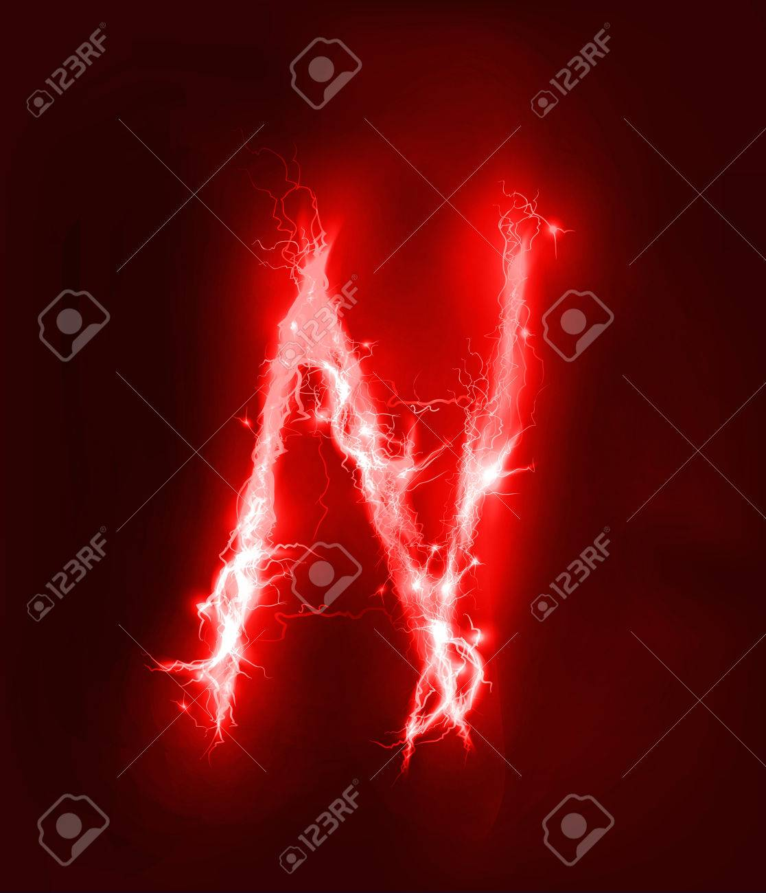Alphabet Made Of Red Electric Lighting Thunder Storm Effect ABC Stock Photo