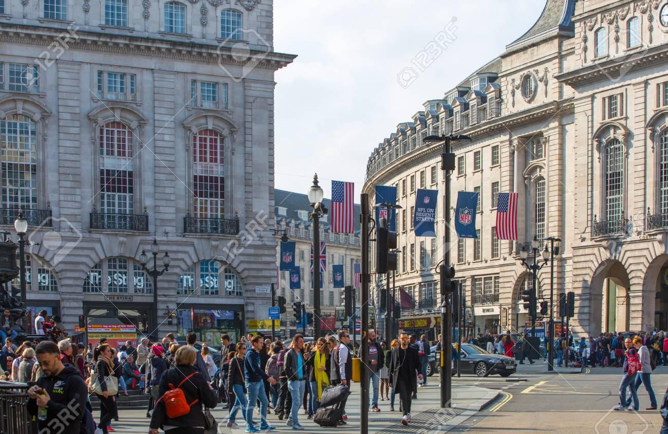 Spaces Rue De Londres london, uk - october 4, 2016: regent street view with transport..