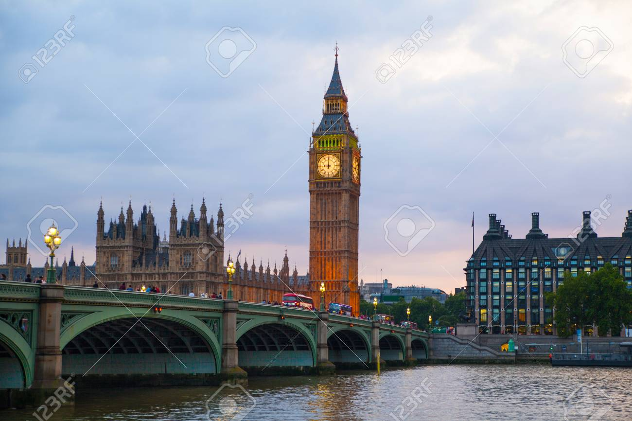 London Uk July 21 2014 Big Ben And Houses Of Parliament Stock