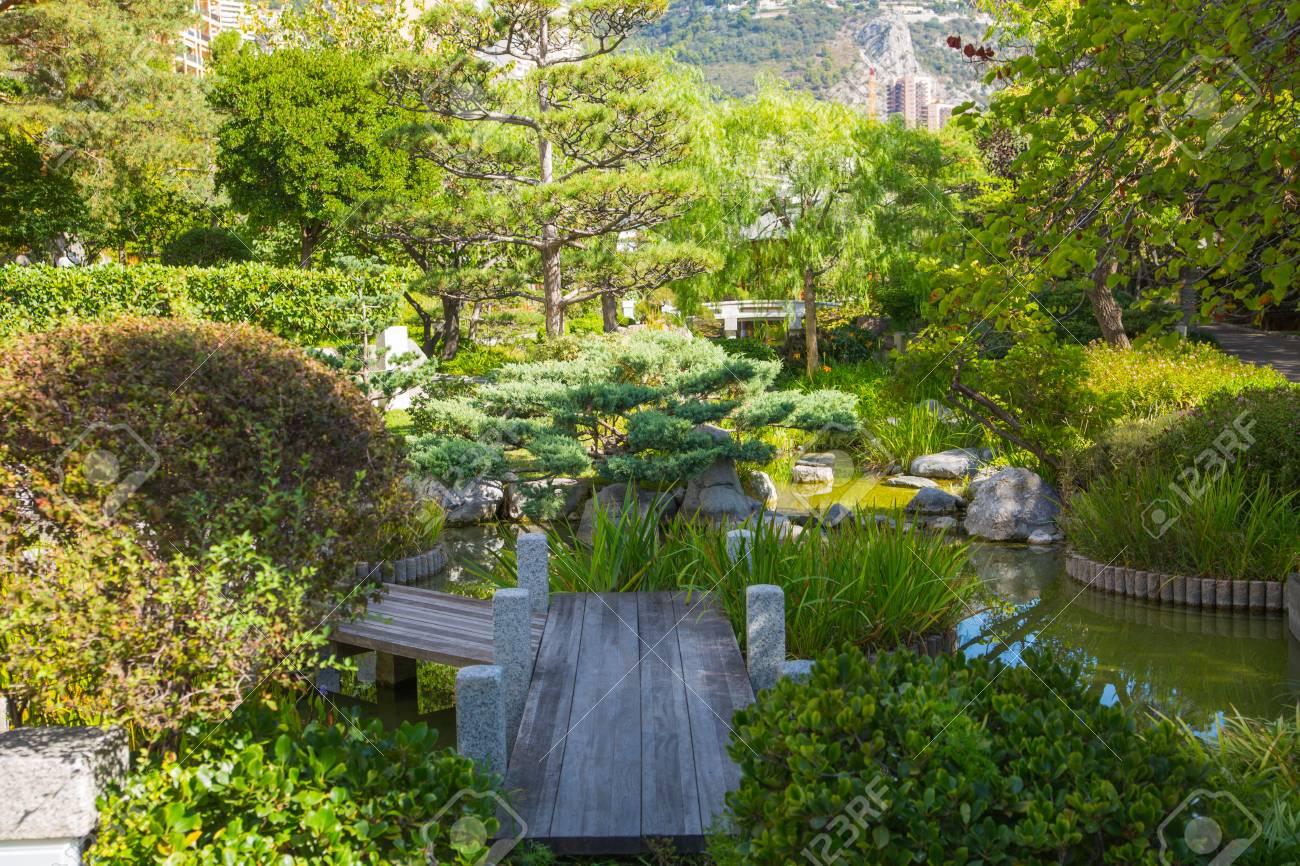 Jardin Japonais Japanese Garden Of Monte Carlo Monaco Stock Photo