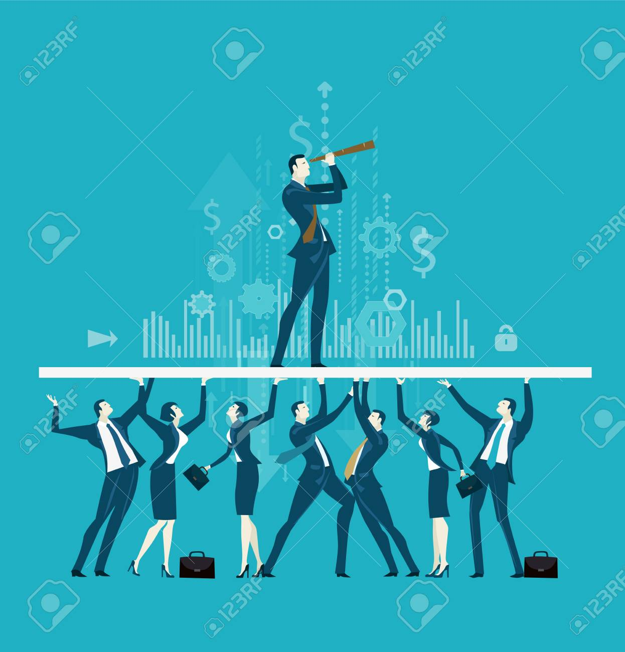 Team of successful business people holding up the platform with