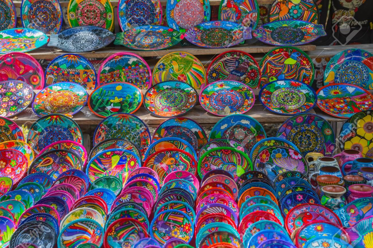 Mexico Yucatan - February 17 2018 Decorative Mexican plates selection on the souvenir  sc 1 st  123RF.com & Mexico Yucatan - February 17 2018: Decorative Mexican Plates ...