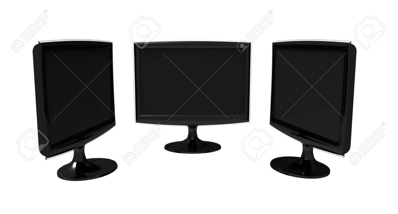Three identical large-format monitors black on a white background Stock Photo - 8644229