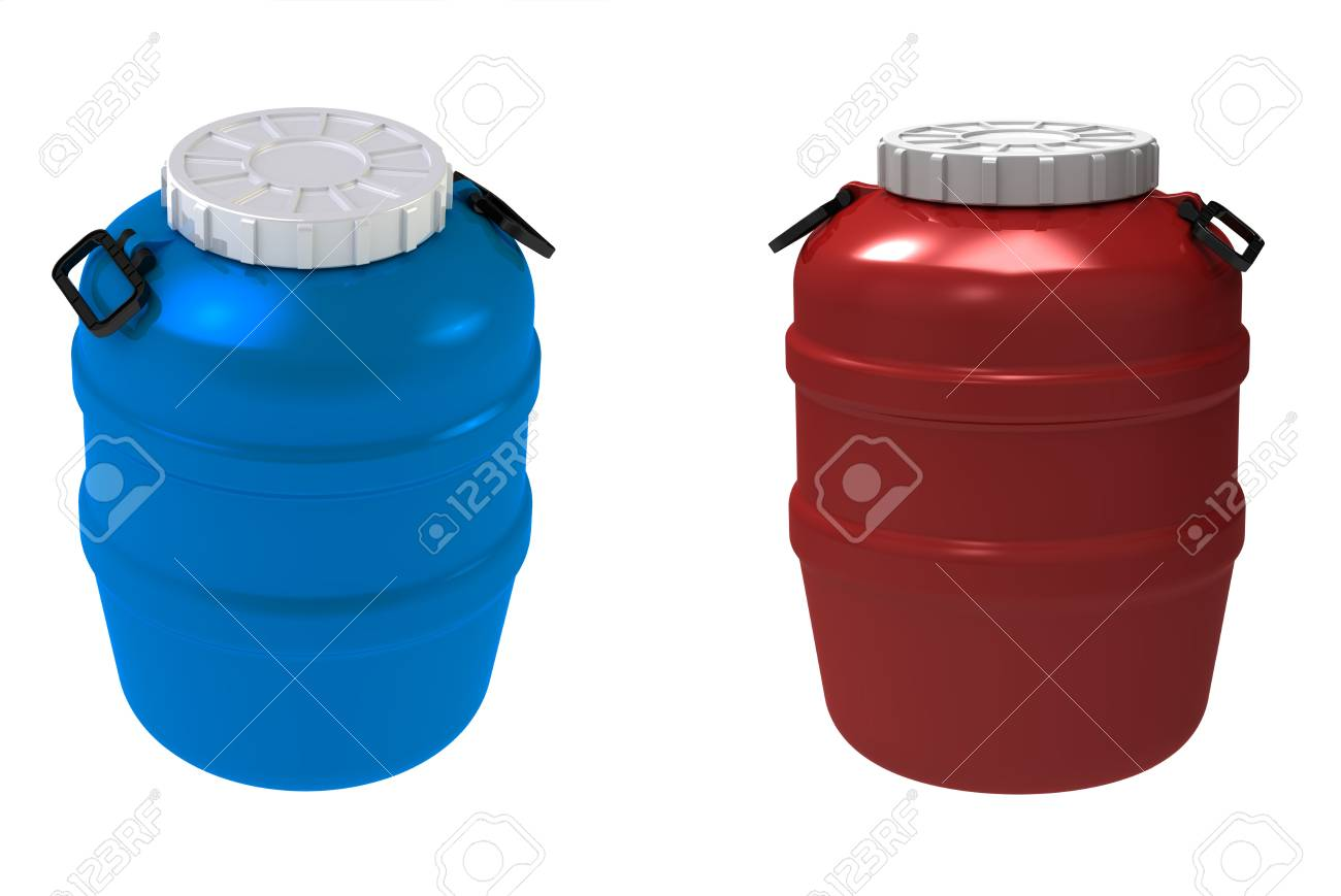 3d render of  blue and red plastic a flank on a white background Stock Photo - 9181118