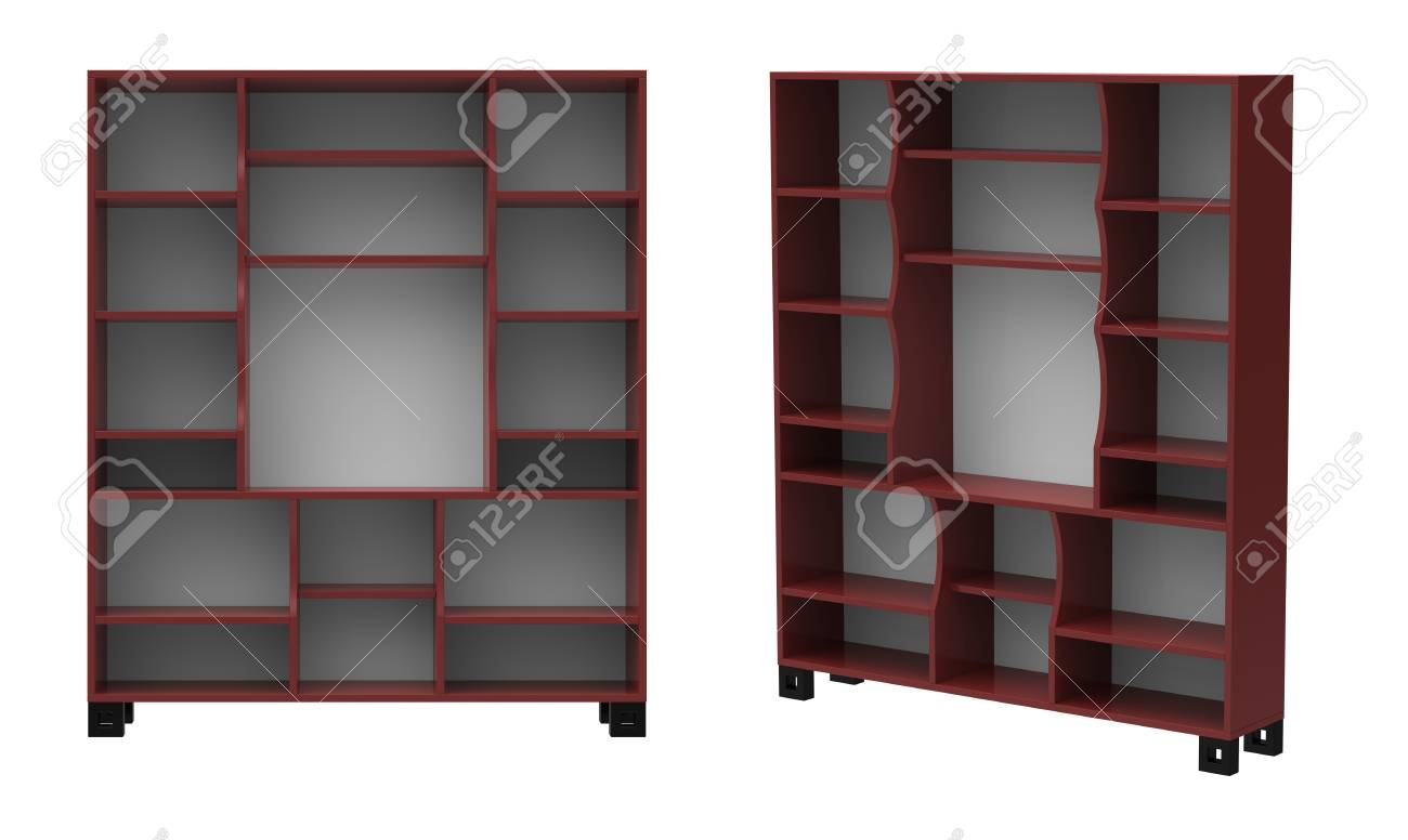 3d render of  wooden bookcase on a white background Stock Photo - 9237956
