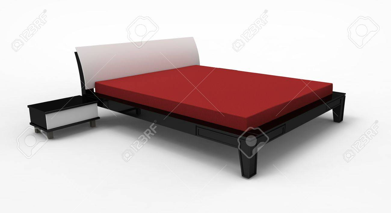 3d render of  modern bed with bedside tables on a white background Stock Photo - 9507140