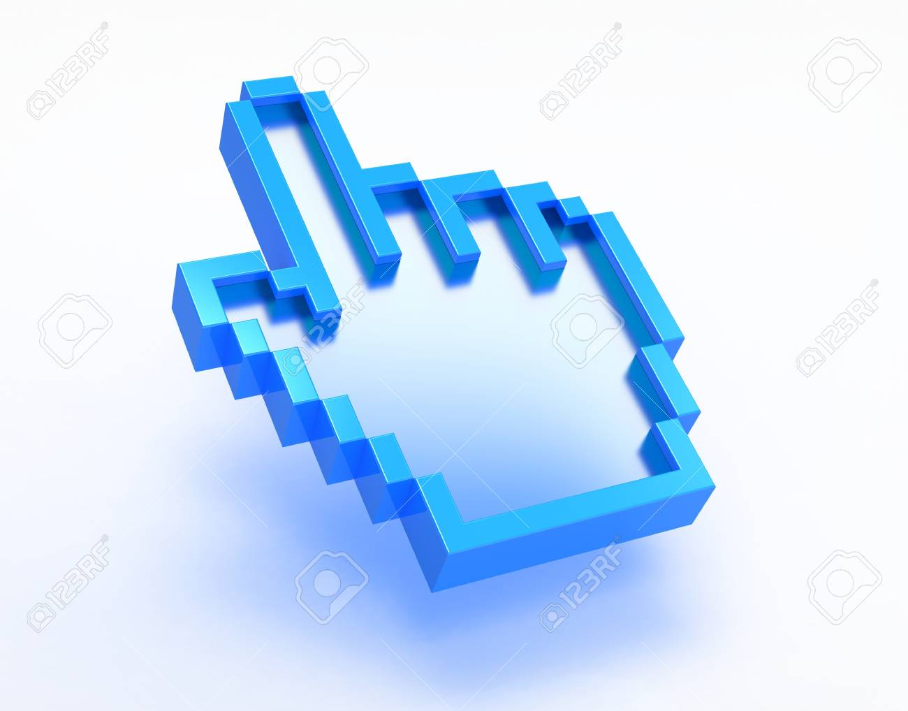 3d render of computer hand cursor on white background Stock Photo - 9576304