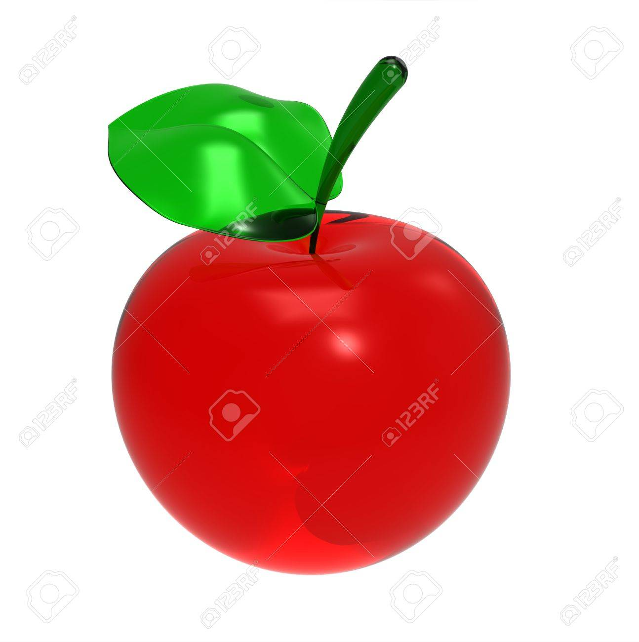 3d render of  red glass apple with a leaflet on a white background Stock Photo - 9824227