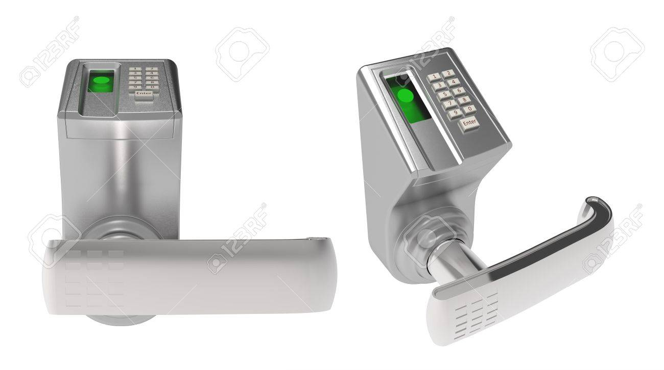 The lock door with a code on a white background Stock Photo - 9977940