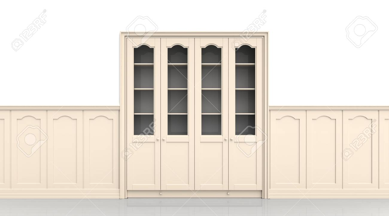 Wooden case in a niche and the panel Stock Photo - 10359933