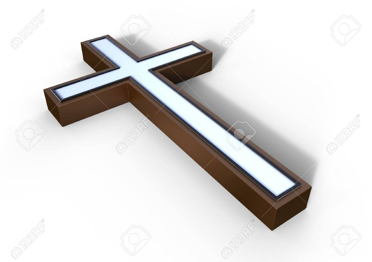 Bronze cross on a white surface Stock Photo - 12270789