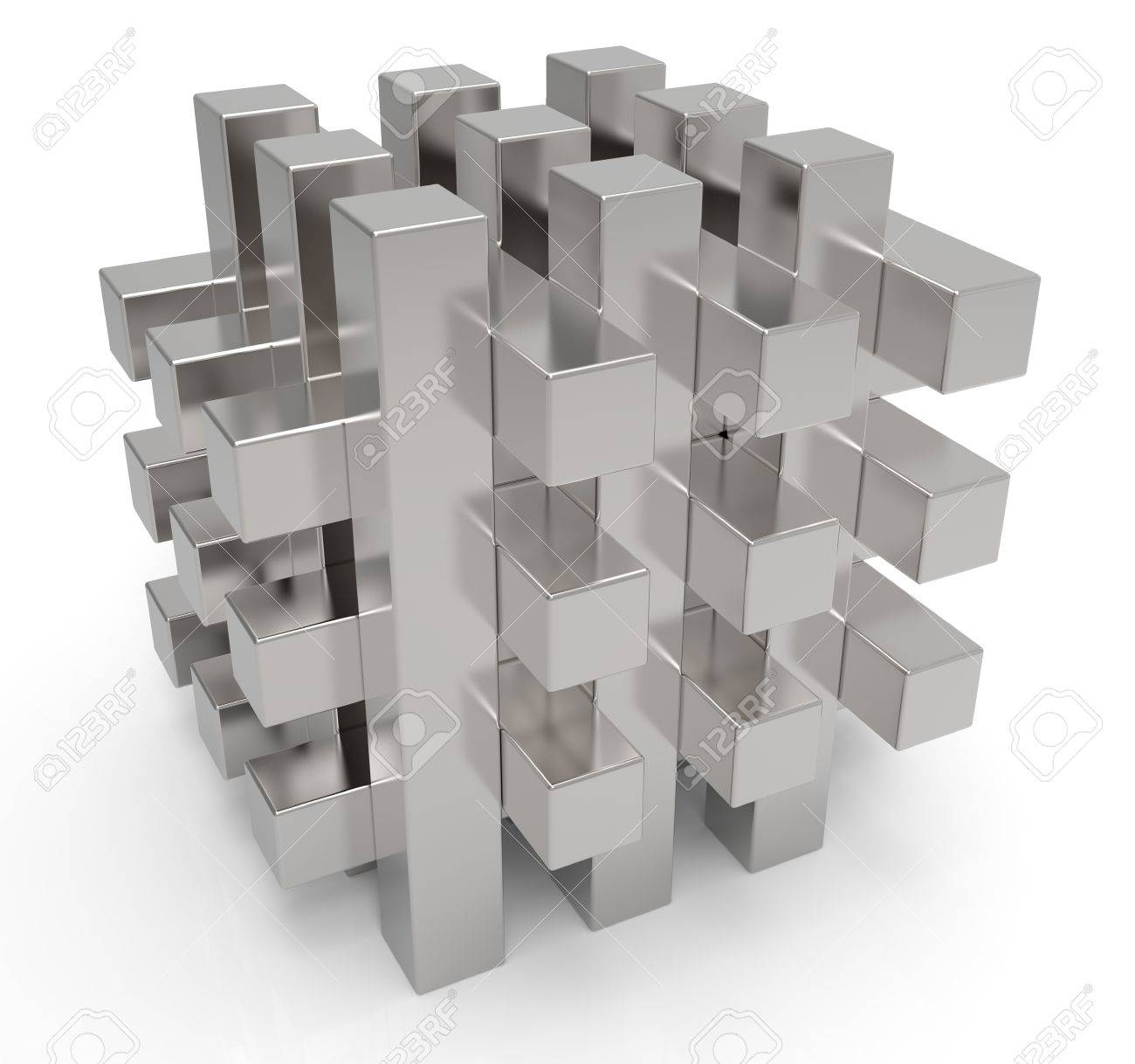 Abstract metal cube a white background Stock Photo - 12632183