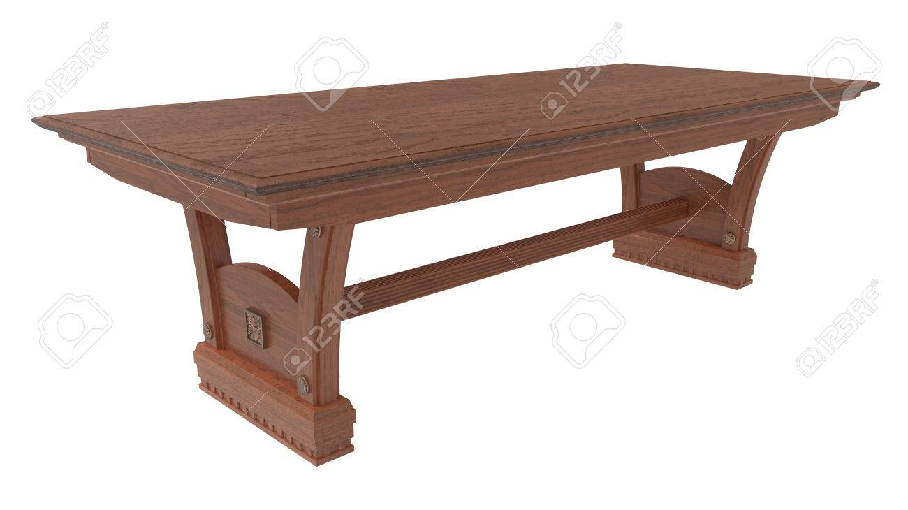 Wooden dining table background - 3d Rendering Wooden Dining Table On A White Background Stock Photo 62392792