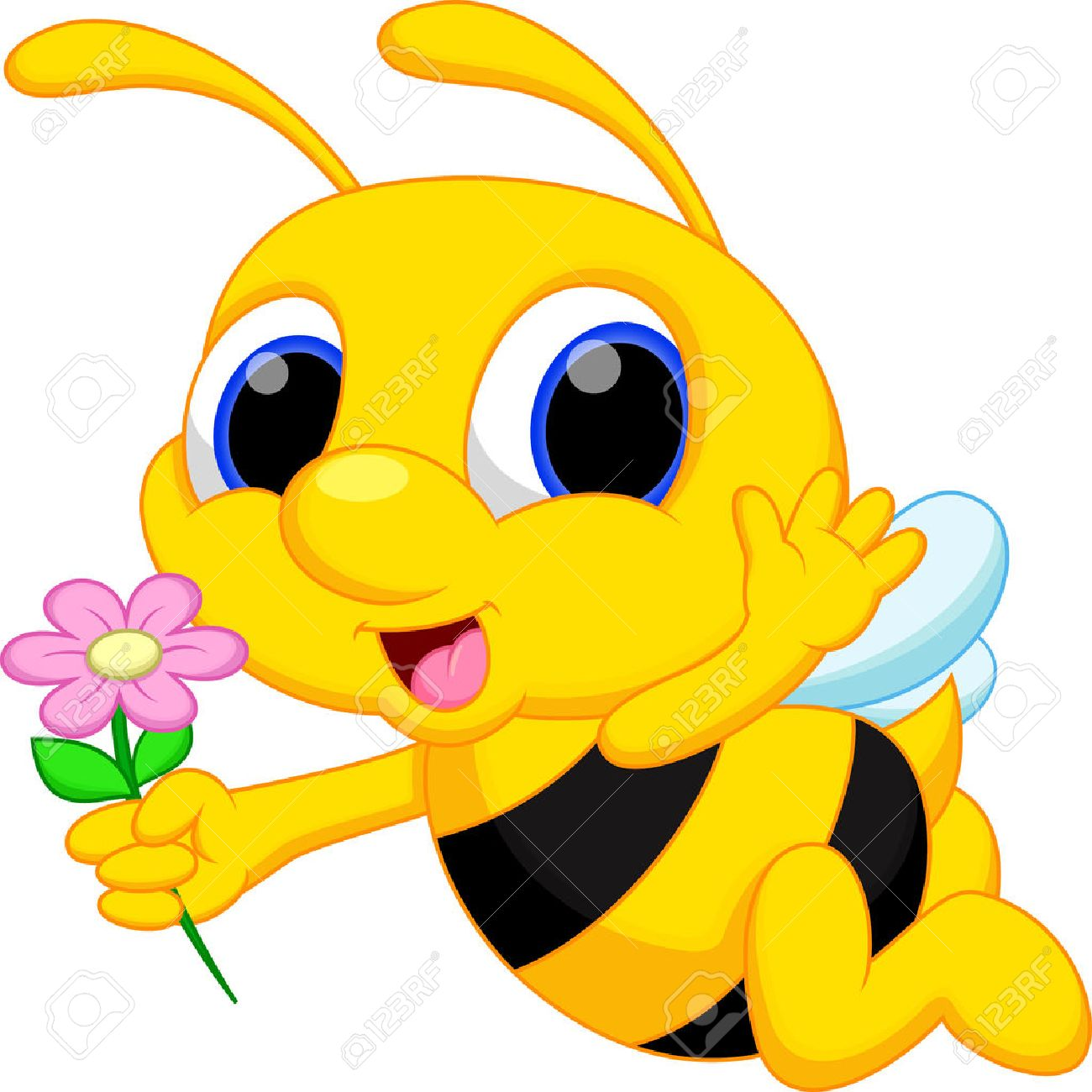 cute bee cartoon flying while carrying flowers royalty free