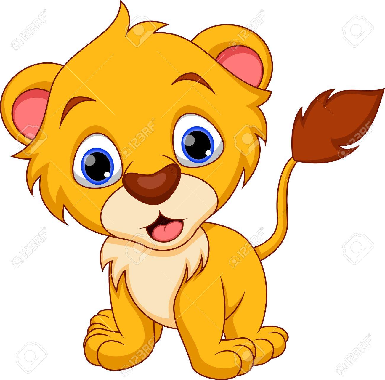 Bébé Lion Mignon De Bande Dessinée Clip Art Libres De Droits
