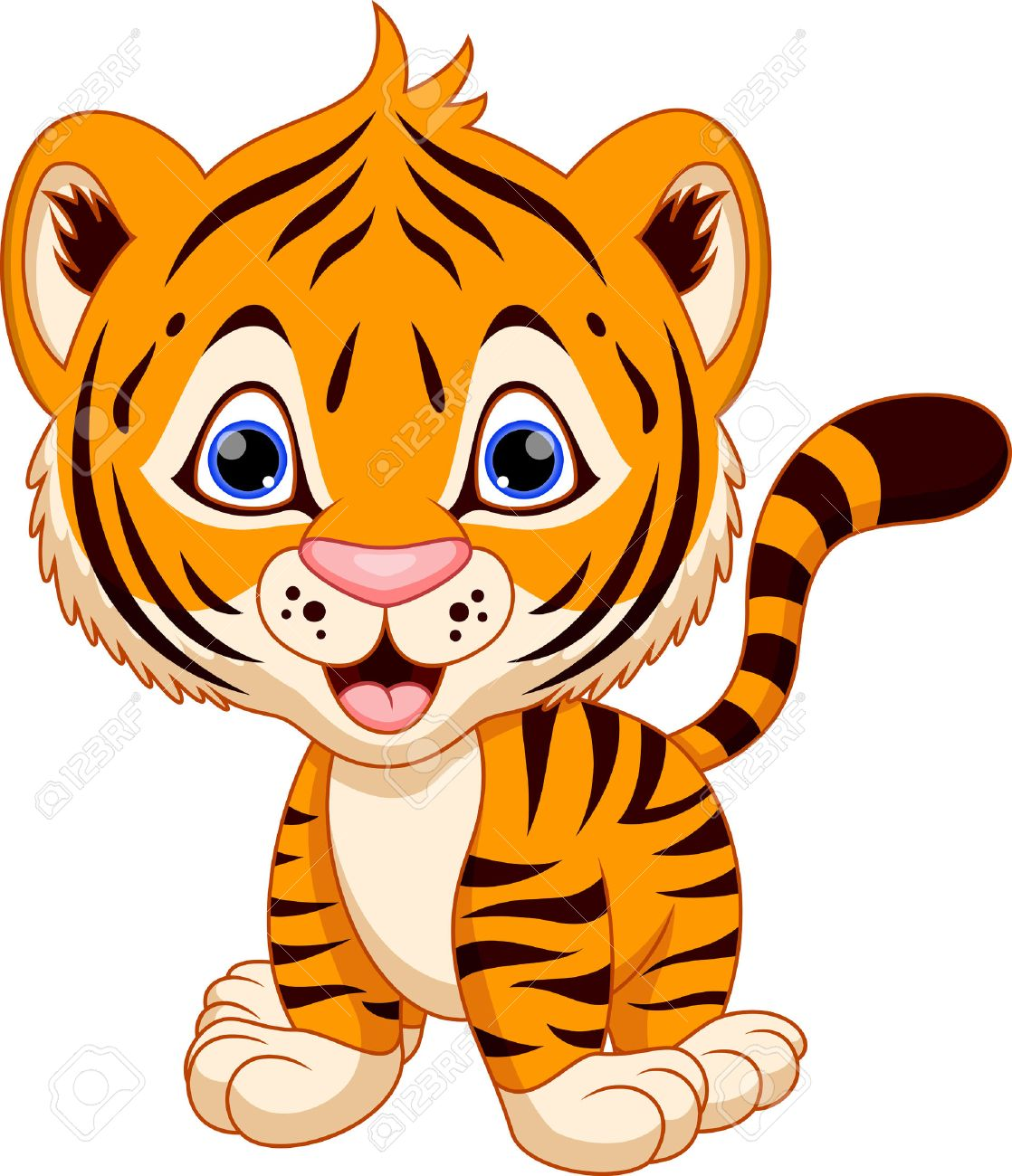cute baby tiger cartoon royalty free cliparts vectors and stock rh 123rf com