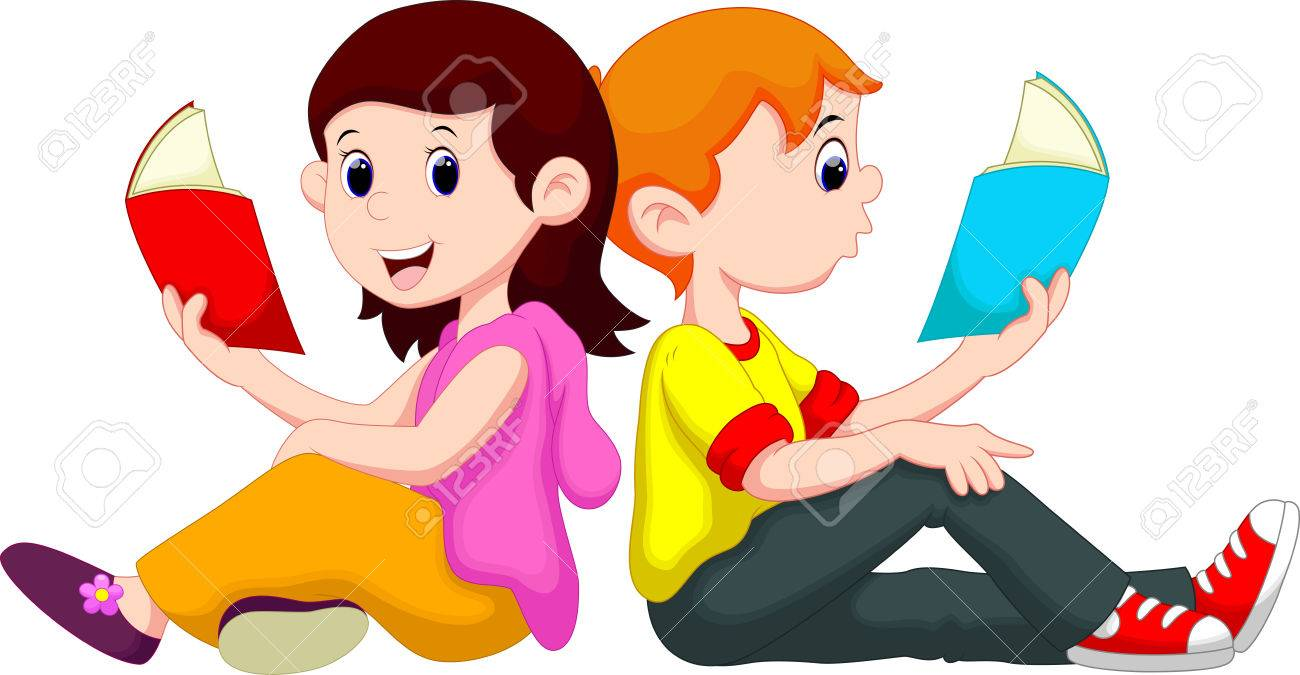 boy and girl reading book royalty free cliparts, vectors, and stock