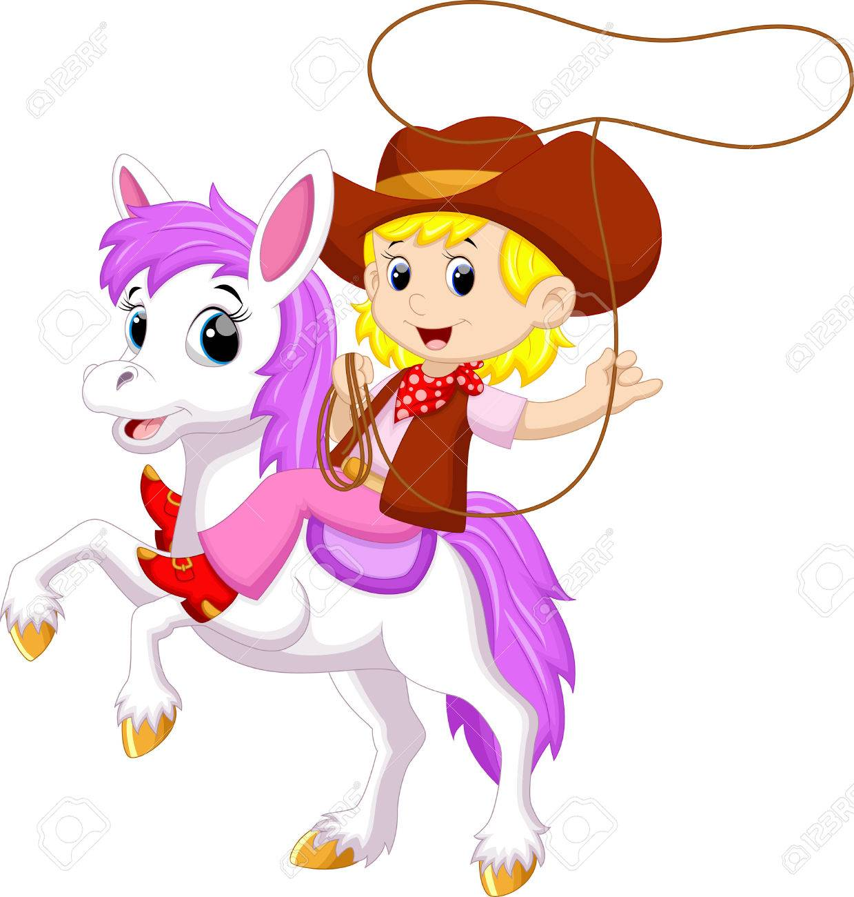 cowgirl riding a horse with lasso royalty free cliparts vectors rh 123rf com Farm Cartoon Character Outfit Little Cowgirl Cartoon Clip Art