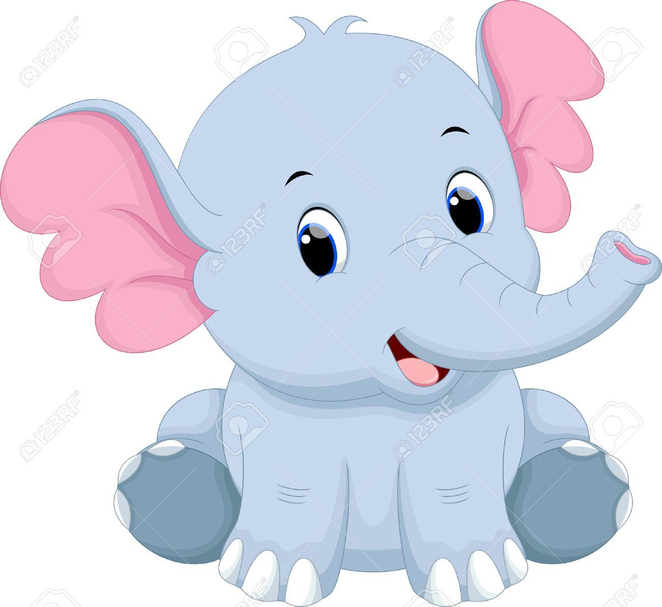 Lindo Bebé De Dibujos Animados De Elefantes Ilustraciones