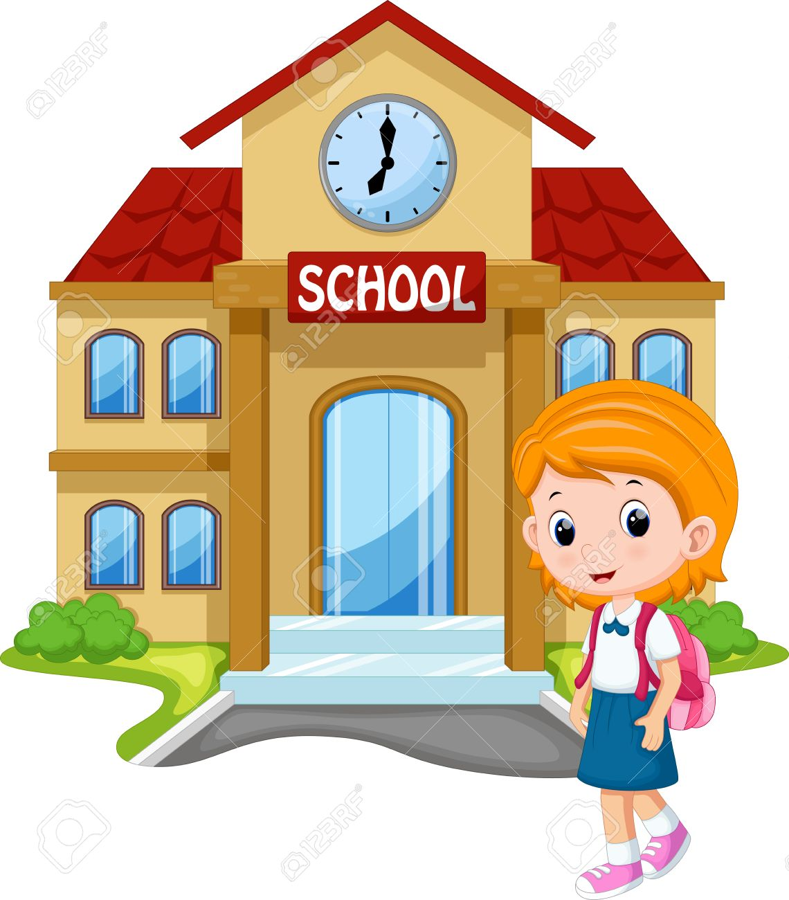 little girl going to school royalty free cliparts vectors and rh 123rf com girl going to school clipart black and white kid going to school clipart