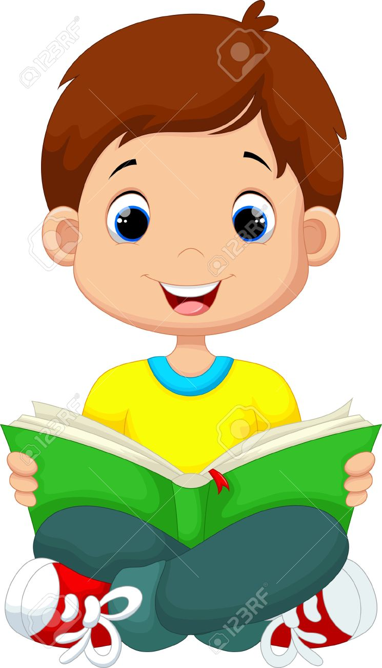 little boy reading a book royalty free cliparts, vectors, and stock