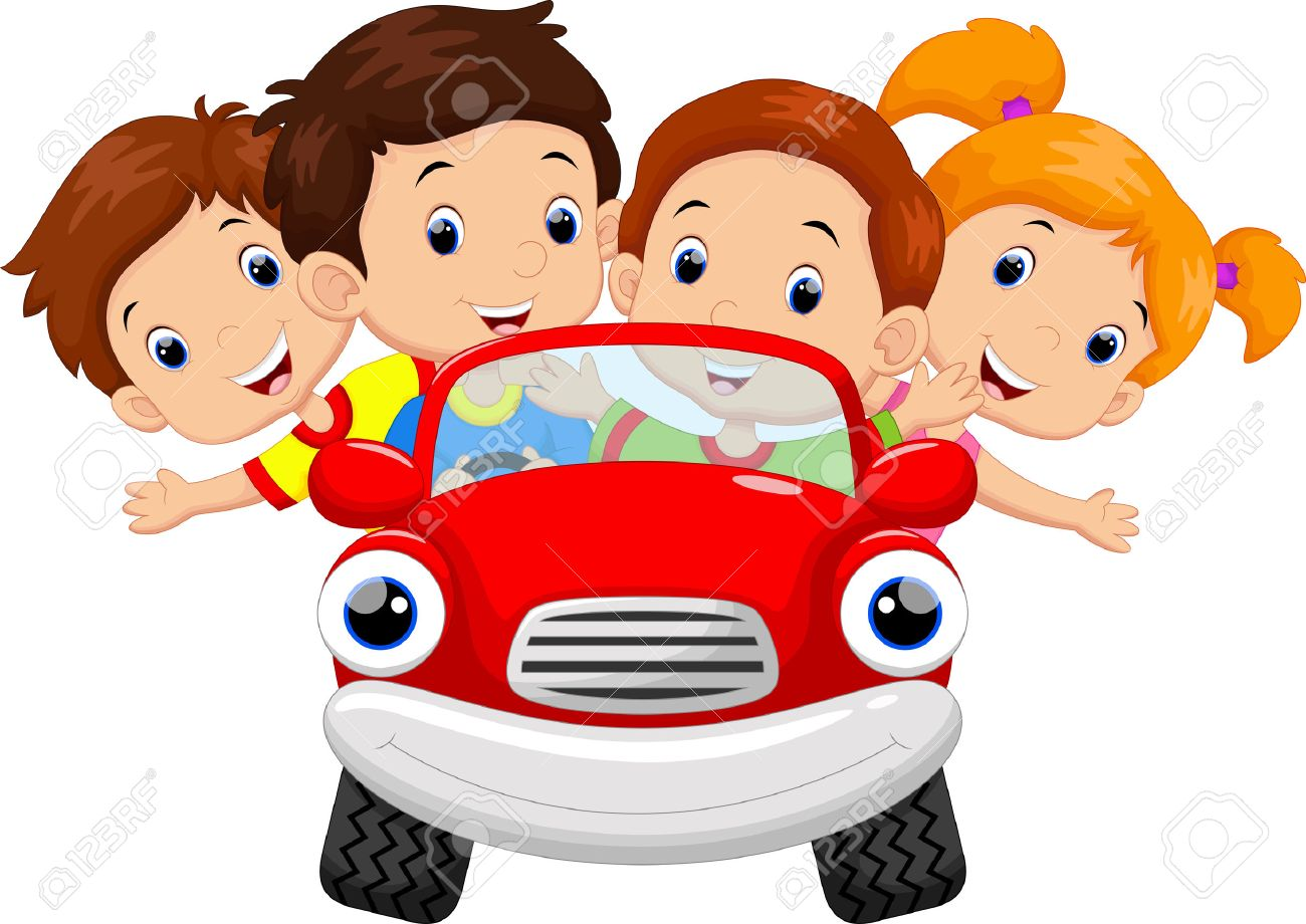 Kids Driving Car Cartoon Royalty Free Cliparts Vectors And Stock
