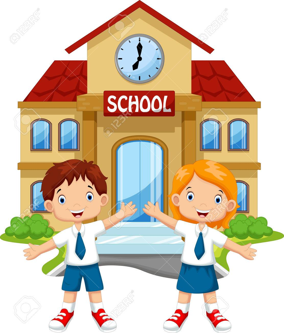 school children posing in front of school royalty free cliparts rh 123rf com school clipart free download school clipart books