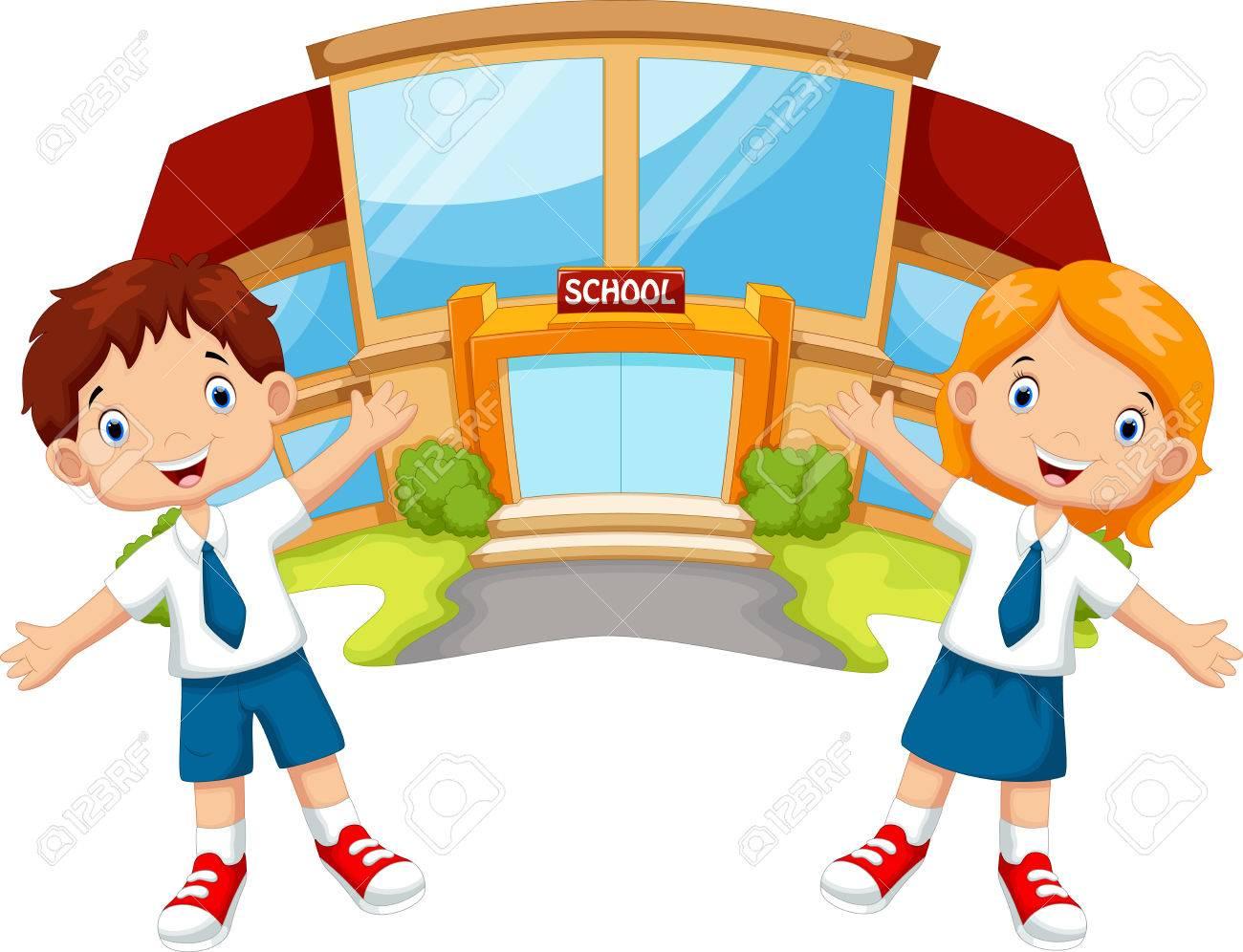 School children in front of the school building - 44628688