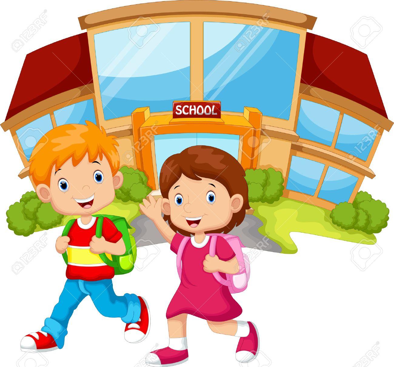 school children walking in front of the school building - 44628691
